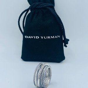 David Yurman Silver Diamond Crossover Ring